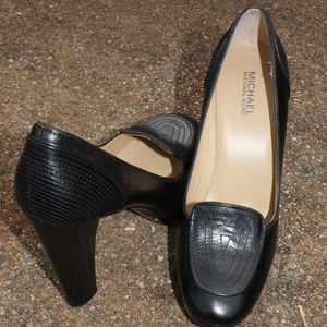 Michael Kors Black Leather Heels Size 10